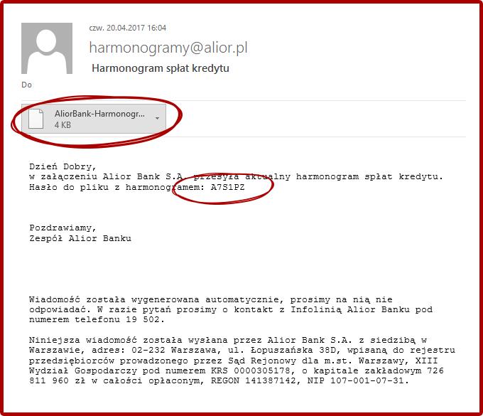 fałszywe maile alior bank