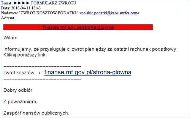 phishing na zwrot podatku
