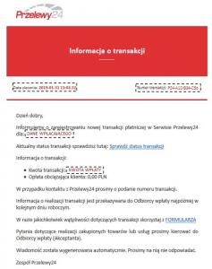fałszywe potwierdzenie transakcji od przelewy24.pl