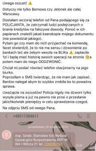 fałszywy policjant - wyłudzenie blik