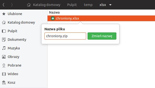 zmiana rozszerzenia .xlsx na .zip