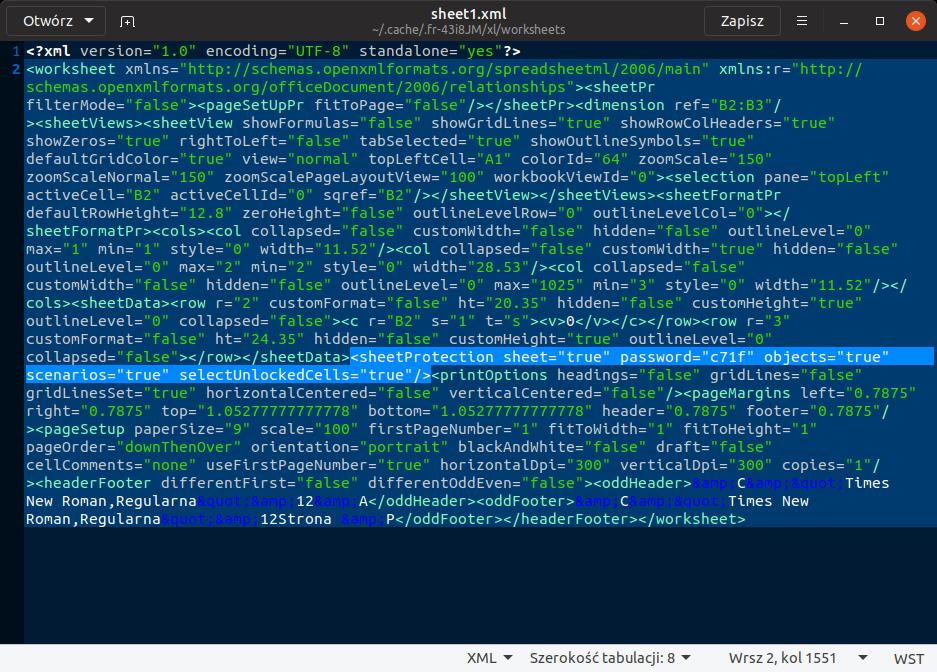 arkusz 1 w XML-u