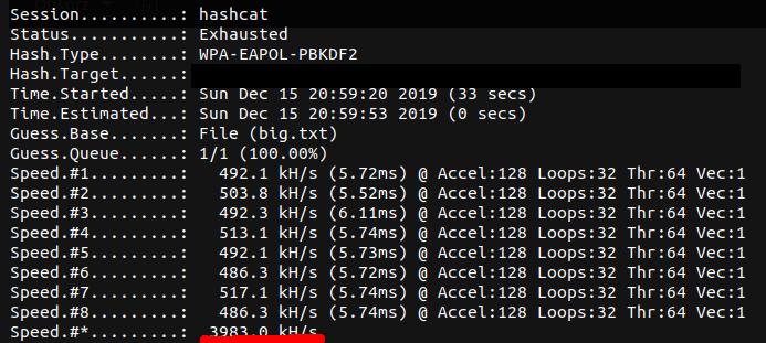 łamanie hasła wpa2 w AWS (8 x Tesla V100)