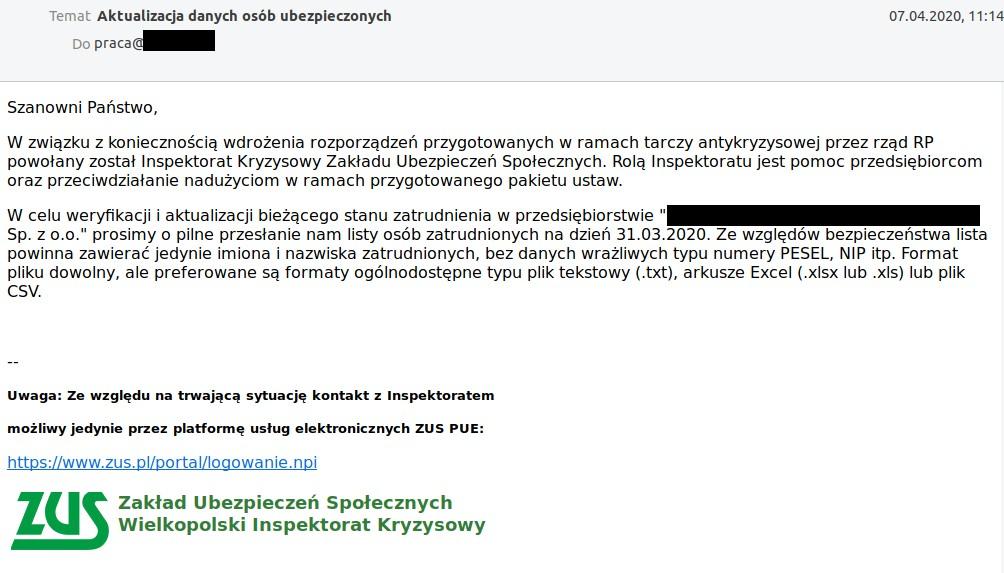 mail phishingowy