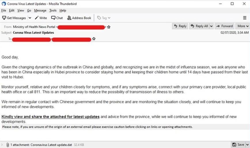 Fałszywy mail od ministerstwa zdrowia