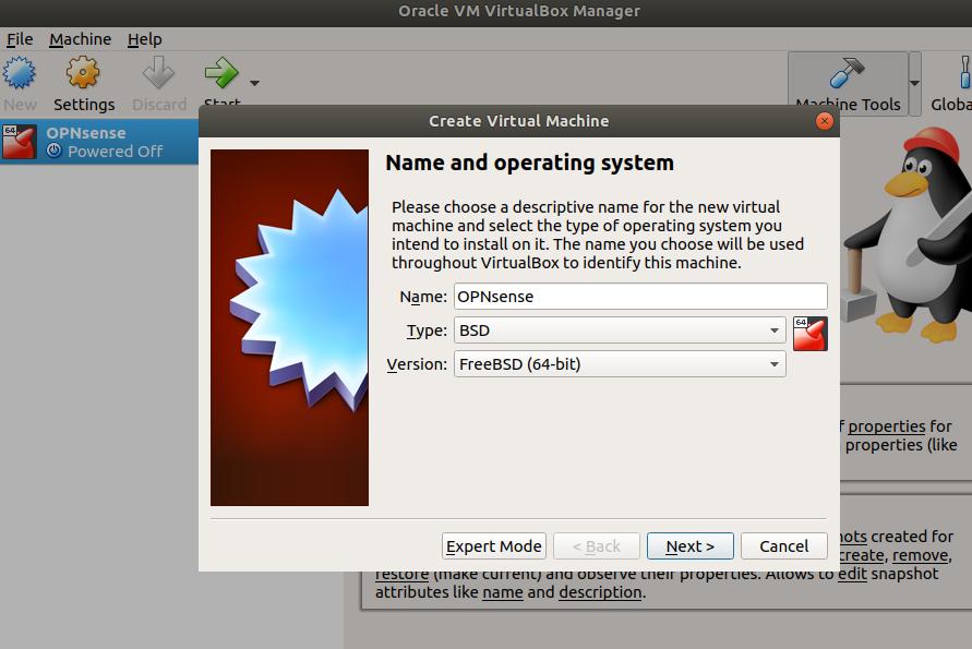 Instalacja firewalla OPNsense - tworzenie maszyny wirtualnej