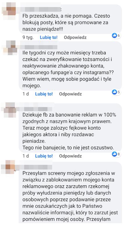 komentarze na temat facebooka