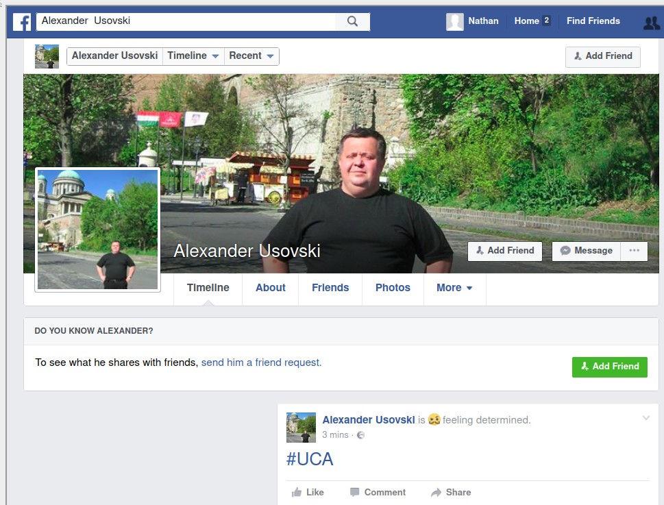 Pozdrowienia od hacktywisów z Ukrainian Cyber Alliance na profilu FB Aleksandra Usowskiego