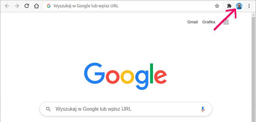 przeglądarka google chrome z zalogowanym kontem użytkownika