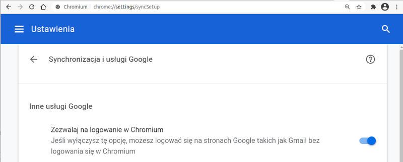 ustawienia google chrome - zezwalaj na logowanie