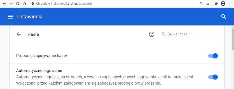 ustawienia google chrome - zapisywanie haseł