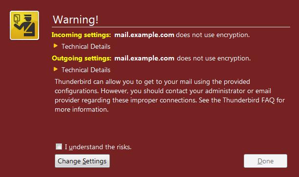 Mozilla Thunderbird - ostrzeżenie o braku szyfrowania