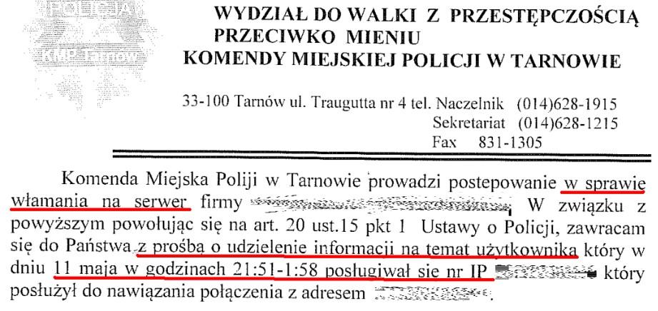Pismo z Policji z prośbą o wskazanie użytkownika adresu IP