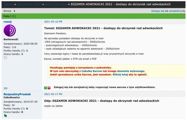wyciek maili - oferta dostępu do skrzynek wystawiona na forum w sieci TOR