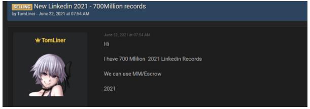 oferta sprzedaży danych z 700 milionów kont LinkedIn
