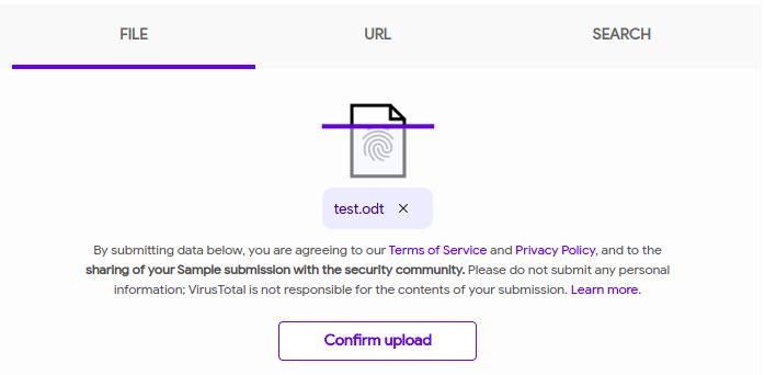 VirusTotal - prośba o potwierdzenie wysłania pliku